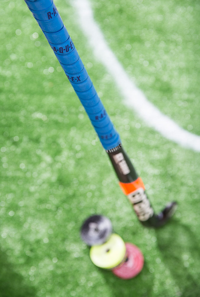 Blue cushion hockey grip